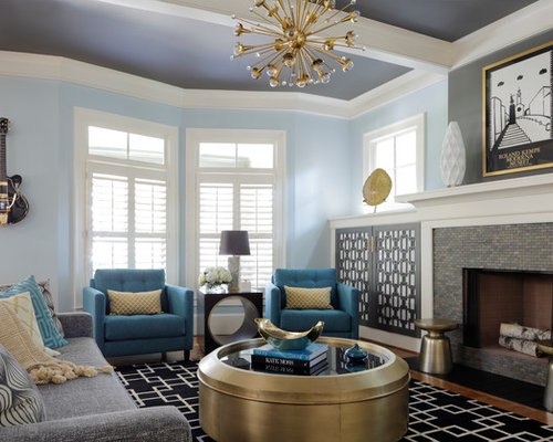Large Transitional Enclosed And Formal Medium Tone Wood Floor Living Room Photo In Atlanta With Blue
