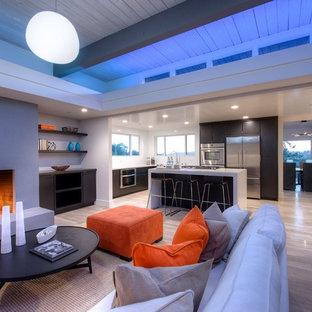 Foto di un soggiorno minimalista di medie dimensioni e aperto con pareti bianche, parquet chiaro, camino classico e cornice del camino in intonaco