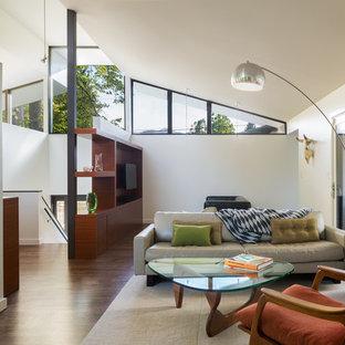 デンバーの中サイズのコンテンポラリースタイルのおしゃれなLDK (白い壁、濃色無垢フローリング、両方向型暖炉、石材の暖炉まわり、埋込式メディアウォール、茶色い床) の写真