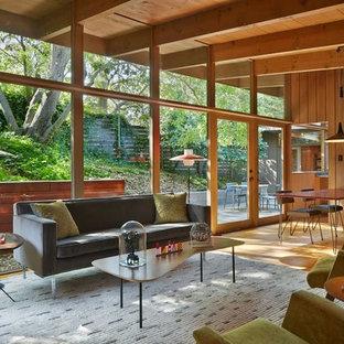 Offenes, Kleines Retro Wohnzimmer mit hellem Holzboden in San Francisco