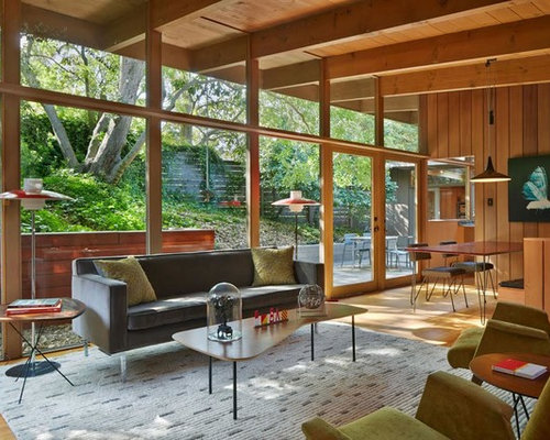 Example Of A Small Midcentury Modern Open Concept Light Wood Floor Living  Room Design In San