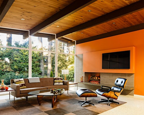 Mid Sized 1960s Open Concept Living Room Idea In Portland With Orange Walls  And A Part 40