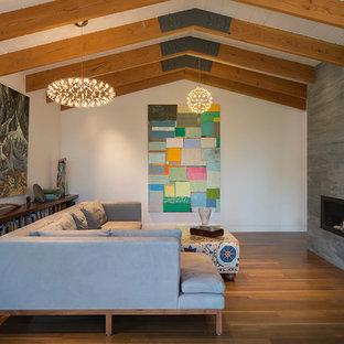 Modelo de salón para visitas cerrado, vintage, de tamaño medio, sin televisor, con paredes blancas, suelo de madera oscura, chimenea lineal y marco de chimenea de hormigón