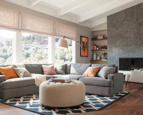 example of a large trendy living room design in san francisco with dark hardwood floors