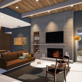 ロサンゼルスの中くらいのミッドセンチュリースタイルのおしゃれなリビング (青い壁、磁器タイルの床、標準型暖炉、レンガの暖炉まわり、壁掛け型テレビ、白い床、表し梁、板張り壁) の写真