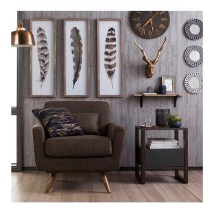 Inspiration för ett litet 50 tals separat vardagsrum, med ett finrum, grå väggar, ljust trägolv och beiget golv