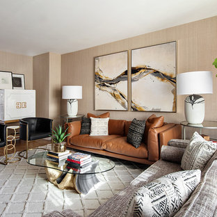 Transitional living room photo in Seattle with beige walls