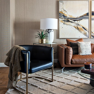 Living room - transitional living room idea in Seattle with beige walls
