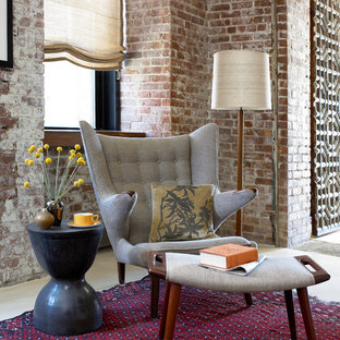 Inspiration for a midcentury modern living room remodel in New York with red walls