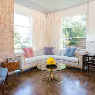 Large 1960s formal and enclosed dark wood floor and brown floor living room photo in Houston with white walls, no fireplace and no tv