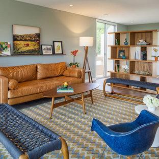 フェニックスの中サイズのミッドセンチュリースタイルのおしゃれなLDK (テレビなし、磁器タイルの床、緑の壁) の写真
