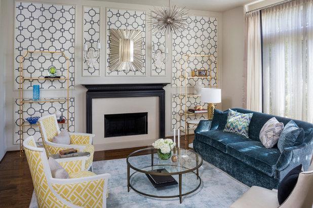 Transitional Living Room Midcentury Living Room