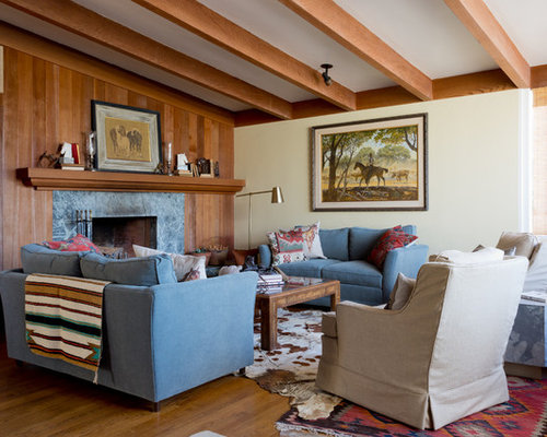 Mid Century Modern Living Room With Fireplace midcentury modern living room with a stone fireplace surround