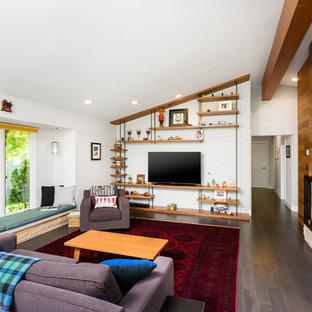 Living Room   1960s Dark Wood Floor And Brown Floor Living Room Idea In  Detroit With. Save Photo. Midcentury ...