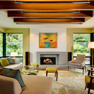 Mid-sized 1960s formal and open concept medium tone wood floor living room photo in San Francisco with white walls, a standard fireplace, a concrete fireplace and no tv