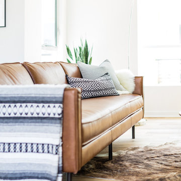 Midcentury Modern Living Room with West Elm Axel Sofa