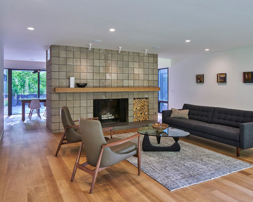 inspiration for a 1960s light wood floor and beige floor living room remodel in grand rapids - Midcentury Living Room Ideas