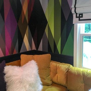 Midcentury Multi-Color Media Room