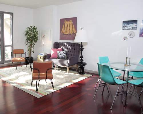 living room settee. Inspiration for a midcentury modern living room remodel in Omaha with white  walls Settee Houzz