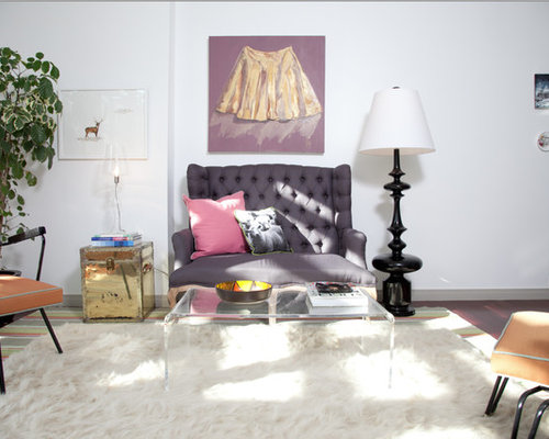 1960s living room idea in omaha with white walls