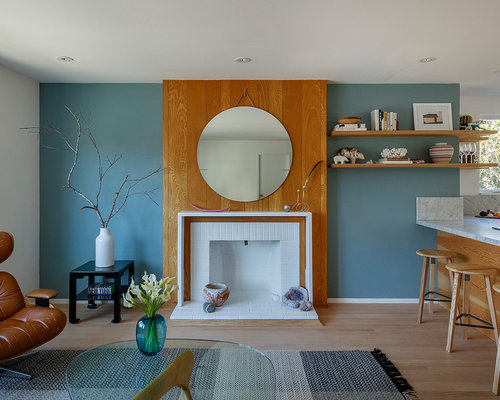 Example Of A Midcentury Modern Living Room Design In San Francisco