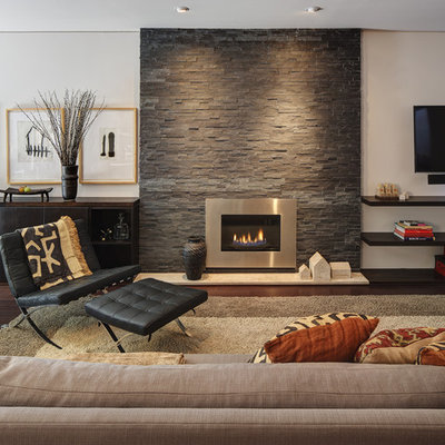 Example of a mid-sized trendy formal and open concept dark wood floor and brown floor living room design in Milwaukee with a metal fireplace, white walls, a ribbon fireplace and a wall-mounted tv