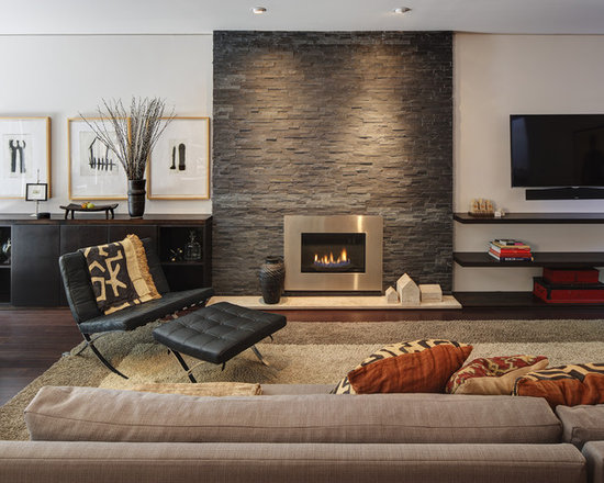 Casual Den Stacked Stone Fireplace Houzz
