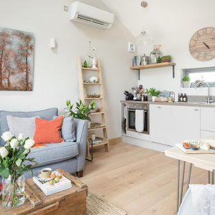 This is an example of a scandi living room in Manchester.