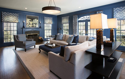 Room of the Day: Moody Blue Update for a Family Room
