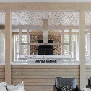Foto de salón para visitas cerrado, campestre, pequeño, con paredes blancas, moqueta, chimenea tradicional, marco de chimenea de madera, pared multimedia y suelo gris