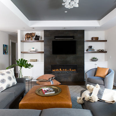 Living room - mid-sized transitional open concept dark wood floor and brown floor living room idea in San Francisco with gray walls, a ribbon fireplace, a tile fireplace and a wall-mounted tv