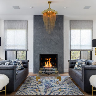 Foto di un soggiorno tradizionale con sala formale e camino classico