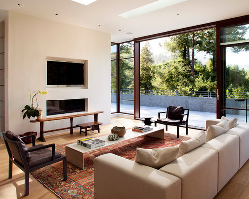 Living Room Designs With Fireplace. Example of a mid sized minimalist formal and open concept medium tone wood  floor living Recessed Fireplace Houzz