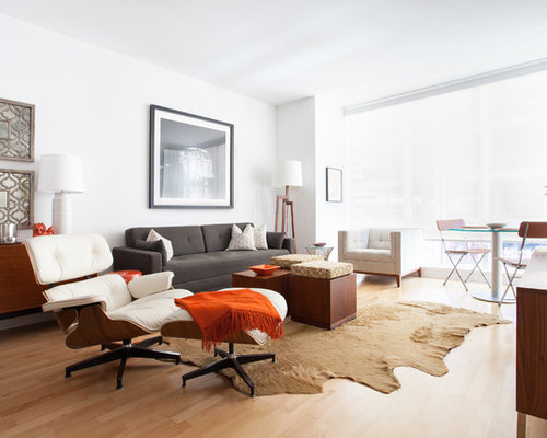 Contemporary Formal Light Wood Floor Living Room Idea In San Francisco With White Walls And A