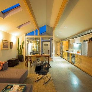 サンディエゴの小さいモダンスタイルのおしゃれなLDK (グレーの壁、コンクリートの床、内蔵型テレビ) の写真