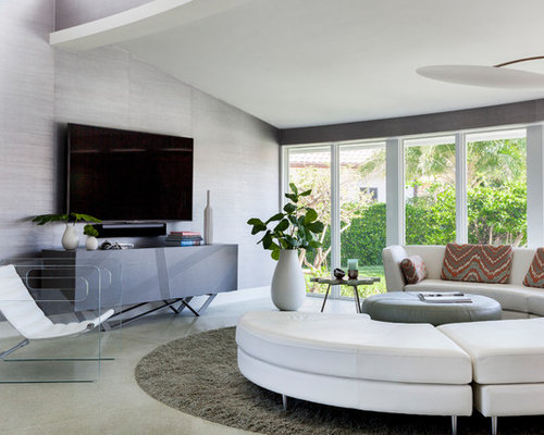 Inspiration For A Large 1960s Open Concept Gray Floor Living Room Remodel In Miami With