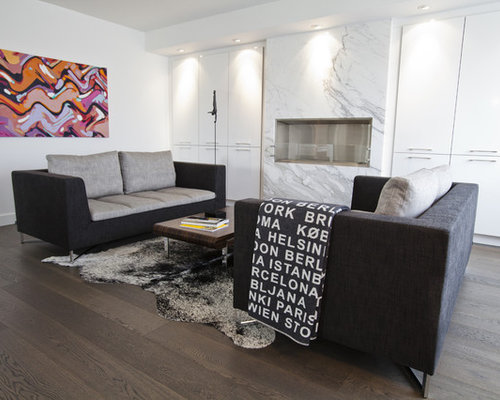 Example Of An Eclectic Living Room Design In Toronto With White Walls