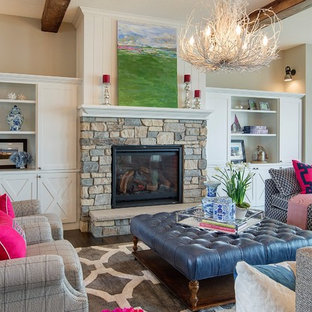 Living room - large transitional open concept and formal dark wood floor living room idea in Minneapolis with a standard fireplace, a stone fireplace, beige walls and no tv