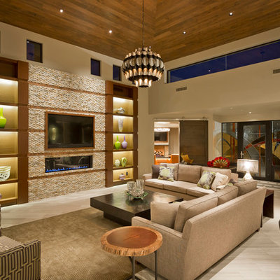 Example of a trendy formal and open concept ceramic tile living room design in Phoenix with beige walls, a ribbon fireplace and a wall-mounted tv
