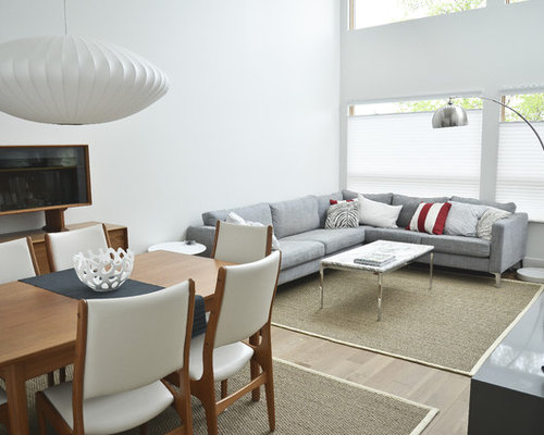Example of a mid sized trendy living room design in other with white