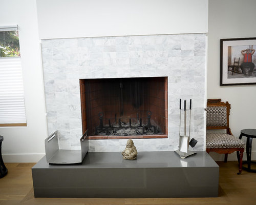 Marble Tile Fireplace Houzz
