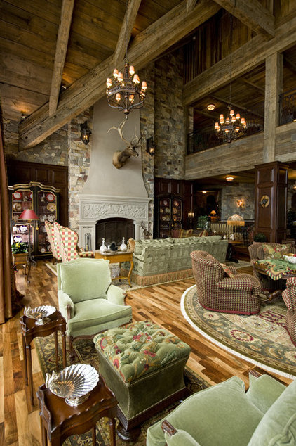 Rustic Living Room by Big Wood Timber Frames, Inc.