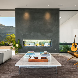 Example of a trendy living room design in Santa Barbara with a music area, white walls, a two-sided fireplace, a concrete fireplace and no tv