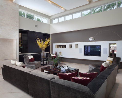 Modern marble floor living room idea in Orlando with gray walls and a media  wall - Dark Grey Sectional Houzz