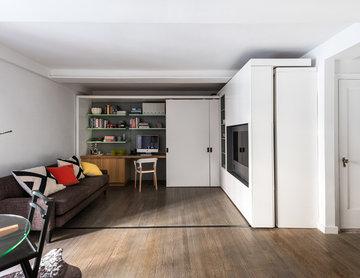 MKCA // 5:1 Apartment // Living Room with Sliding Unit Closed