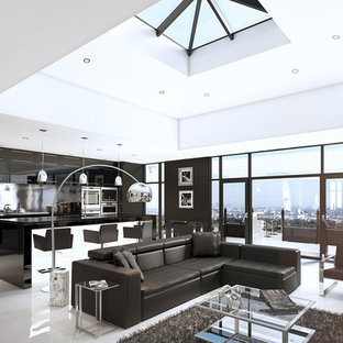 Living room - mid-sized contemporary marble floor living room idea in Miami