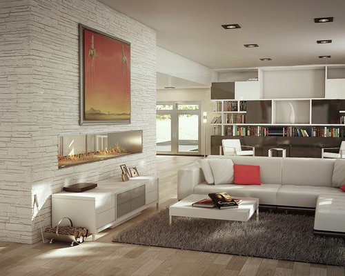 Inspiration For A Large Contemporary Light Wood Floor Living Room Remodel  In Miami With A Two