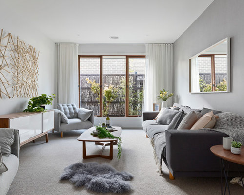 Photo Of A Scandinavian Enclosed Family Room In Melbourne With Grey Walls,  Carpet And No Part 82