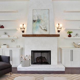 Idéer för ett modernt vardagsrum, med vita väggar och en standard öppen spis