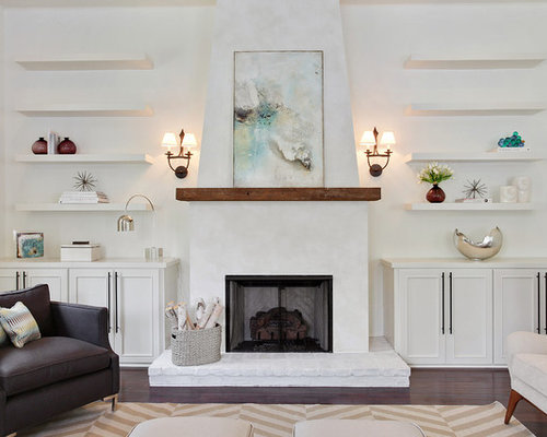 Built-in shelving next to fireplace